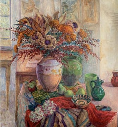 Still Life With Red Scarf, Painting, Oil on Canvas