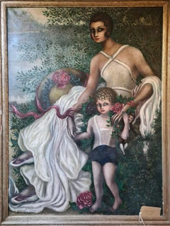 Large Art Deco oil on canvas portrait, Mother and Child in a Dreamscape.