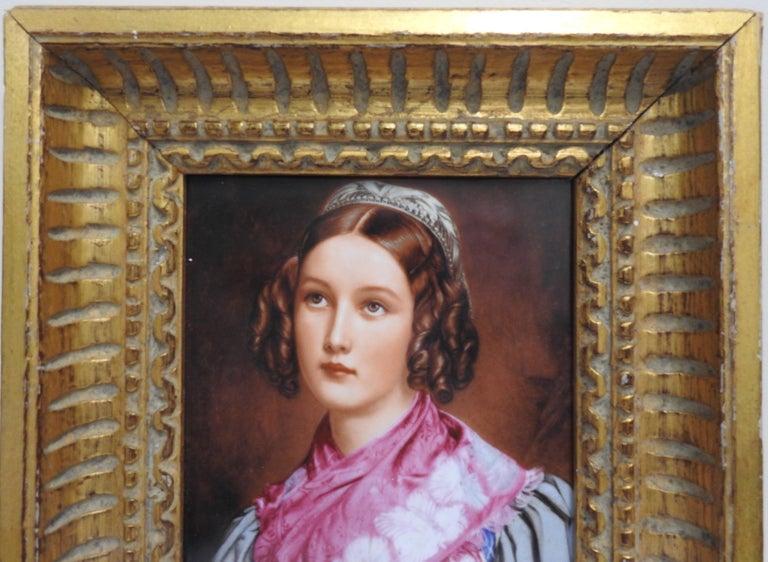 Victorian Helene Sedlmayer of Germany Transferware on Porcelain in Gilt Frame For Sale