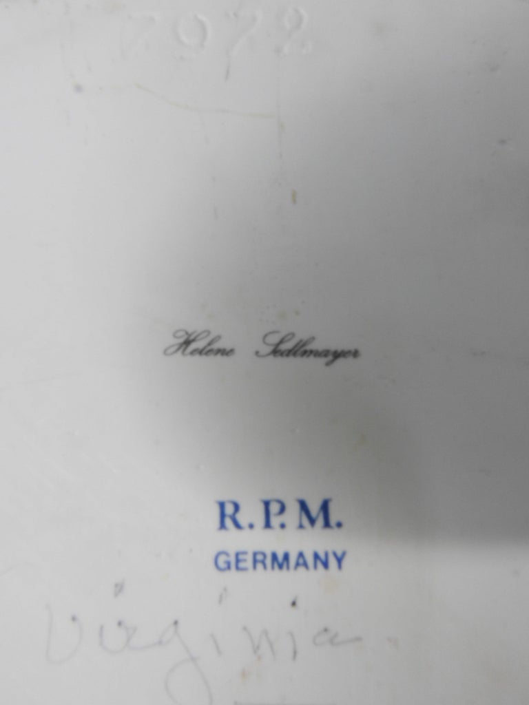 Helene Sedlmayer of Germany Transferware on Porcelain in Gilt Frame For Sale 1