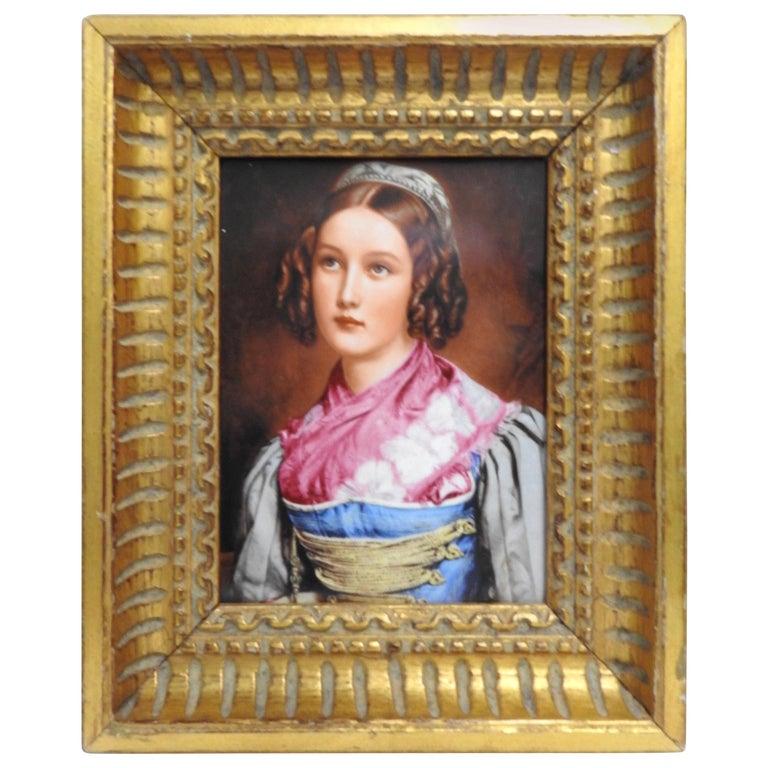 Helene Sedlmayer of Germany Transferware on Porcelain in Gilt Frame For Sale