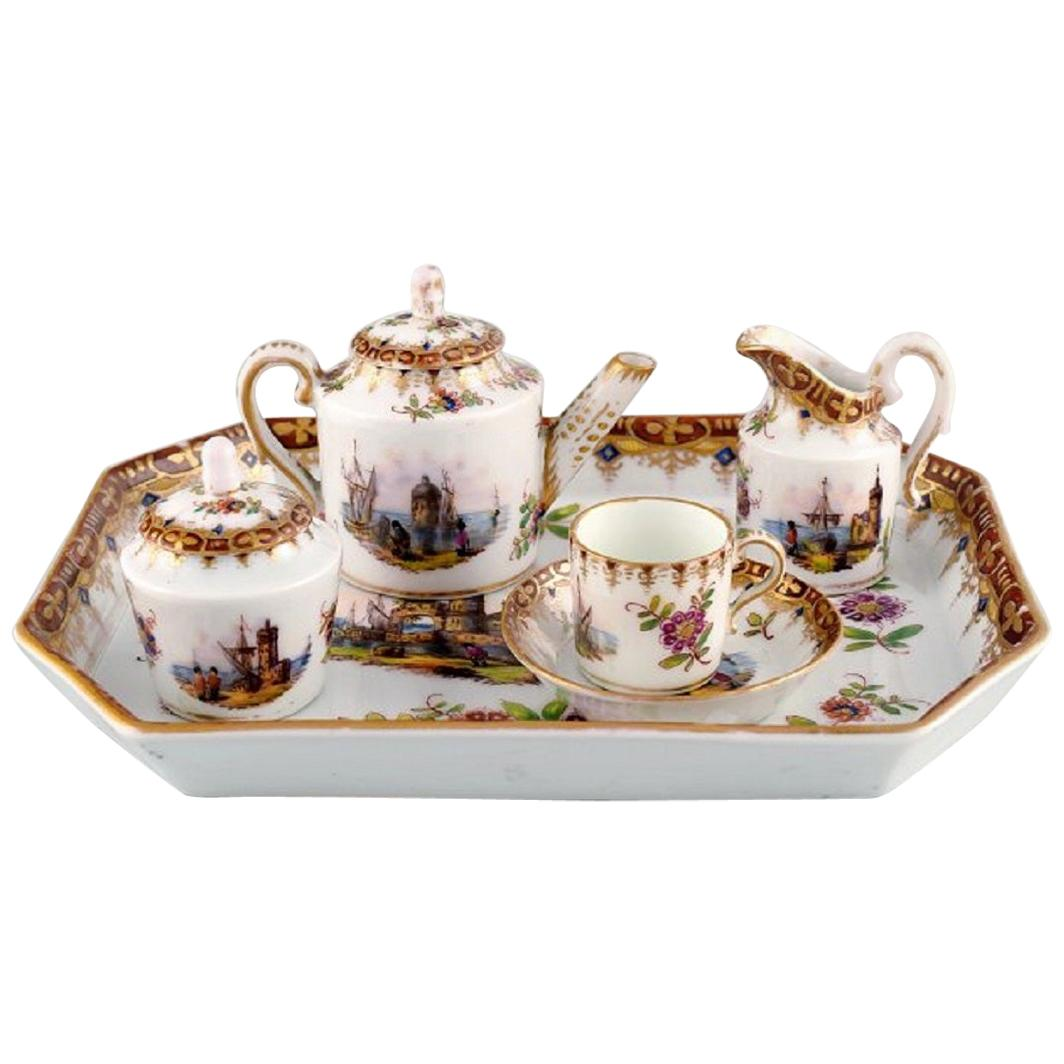 Helene Wolfsohn Dresden, Tête-à-Tête Tea Set in Hand Painted Porcelain