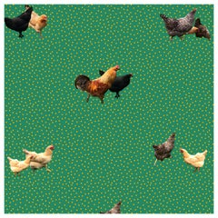 Helen's Yard Chicken Printed Wallpaper in Green