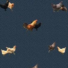 Helen's Yard, Chicken Printed Wallpaper in Navy
