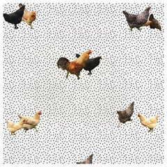 Helen's Yard, Chicken Printed Wallpaper in White