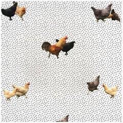 Helen's Yard, Chicken Printed Wallpaper in White