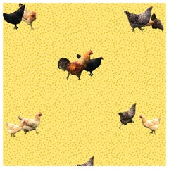 Helen's Yard-Chicken Printed Wallpaper in Yellow
