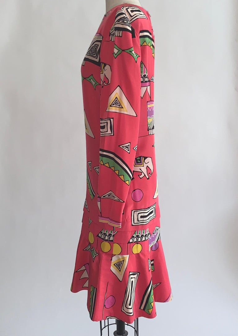 Helga 1980s Pink Circus Print Dress Long Sleeve Flounce Hem In Good Condition For Sale In San Francisco, CA