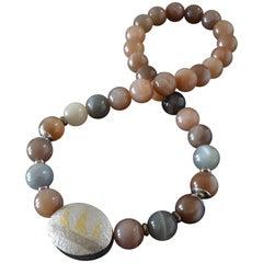 Helga Friedridchs Moonstone Gold Silver Necklace Reversible Mokume Gane Clasp