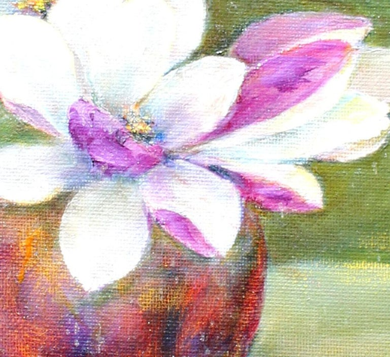 Magnolia Blossoms, oil on canvas  - Impressionist Painting by Helga Ohannesian