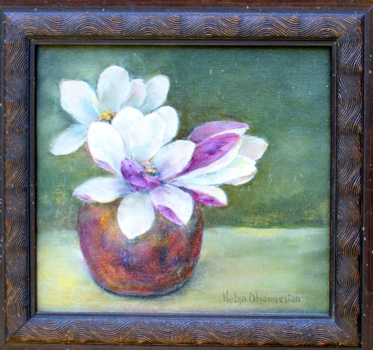Magnolia Blossoms, oil on canvas  - Gray Still-Life Painting by Helga Ohannesian
