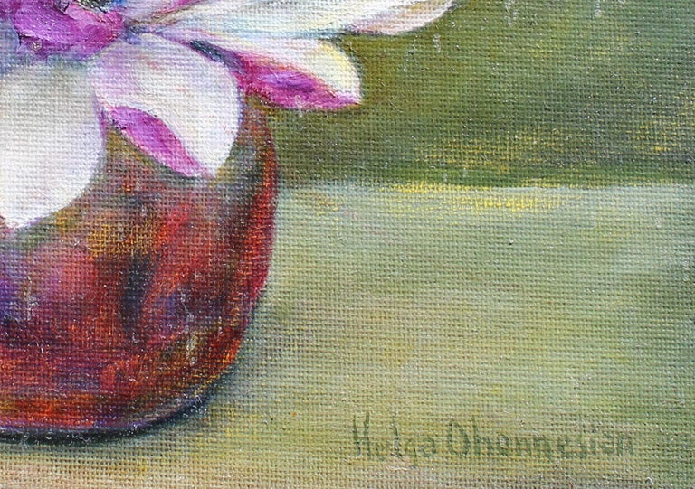 A beautiful Magnolia Blossoms by Helga Ohannesian and signed lower right.  An artist certificate is included. Nicley framed.    I do not paint to make statements about societal ills or my most inner feelings about life. I paint the beauty I see