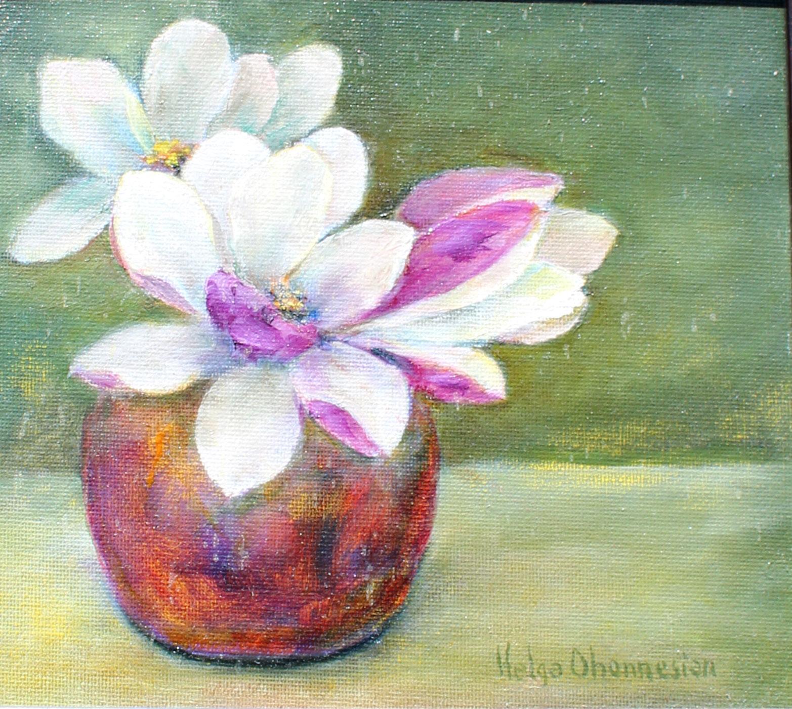 Magnolia Blossoms, oil on canvas