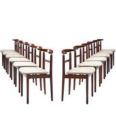 Helge Sibast & Børge Rammeskov Set of 12 Dining Chairs in Rosewood