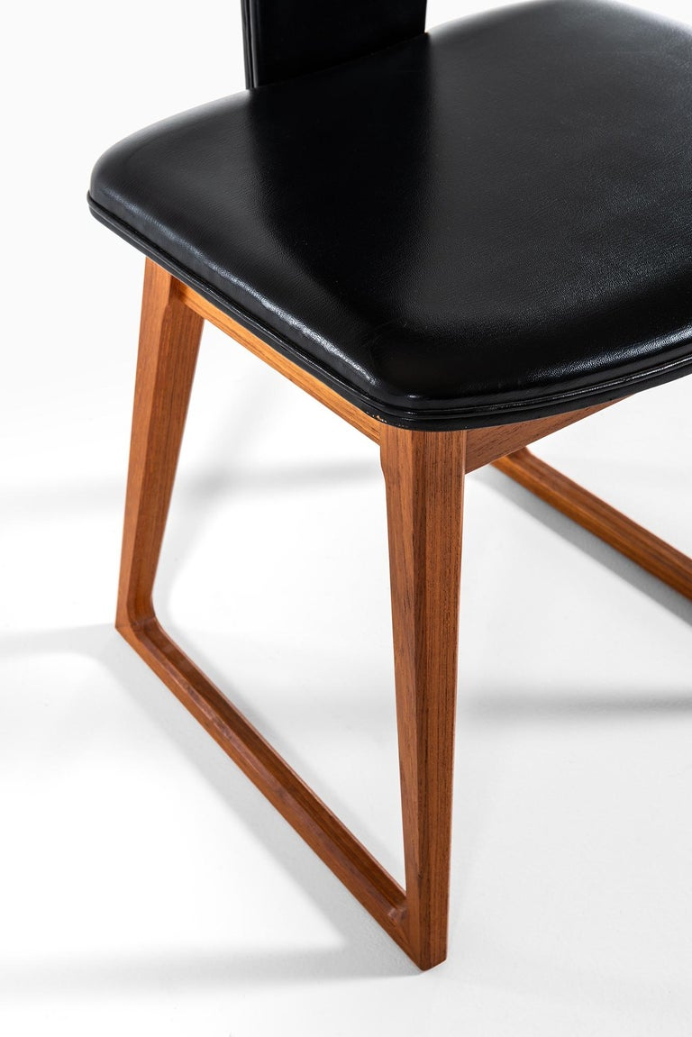 Faux Leather Helge Sibast Dining Chairs in Teak by Sibast in Denmark For Sale