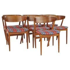 Helge Sibast Model 7 Mid Century Teak and Oak Danish Dining Chairs, Set of 7