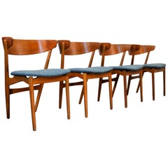 Helge Sibast Teak Dining Chairs No. 7, Set of Four
