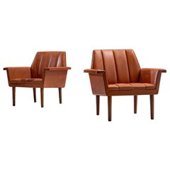 Helge Vestergaard Jensen Pair of Lounge Chairs in Leather