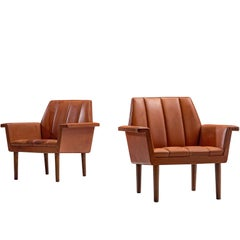 Helge Vestergaard-Jensen Pair of Red Leather Lounge Chairs