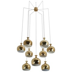 "Helge Zimdal ""the Onion"" Midcentury Swedish Chandelier"
