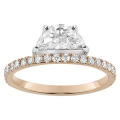 Helia Deluxe Half Moon Diamond Ring in 18k Rose Gold & Platinum by Selin Kent
