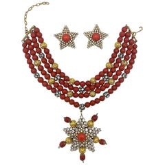 Principessa Helietta Caracciolo Faux Red Coral Choker Necklace and Earrings