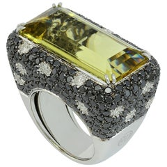 Heliodor Beryl Black Diamond White Diamond 18 Kt White Gold Made in Italy Ring