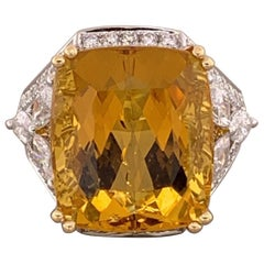 Heliodor Beryl Diamond Gold Ring