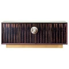 Helios 4-Door Cabinet in Macassar Ebony Veneer with Horn Handle, Mod. 7015EBL