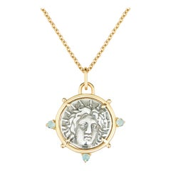 Helios Rhodian Ancient Silver Coin Pendant Aquamarine Yellow Gold Necklace