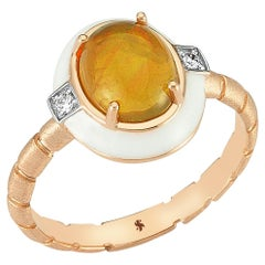 Helios Ring in Rose Gold with Opal and White Diamond