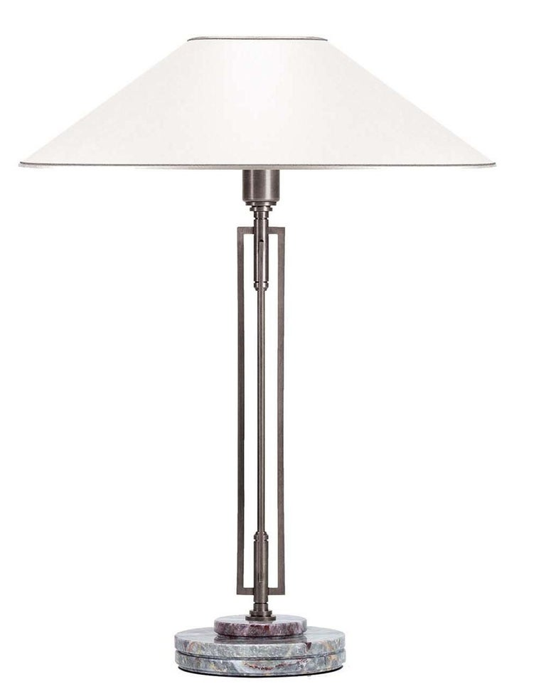 Italian Helios Steel White and Gray Table Lamp by Acanthus For Sale