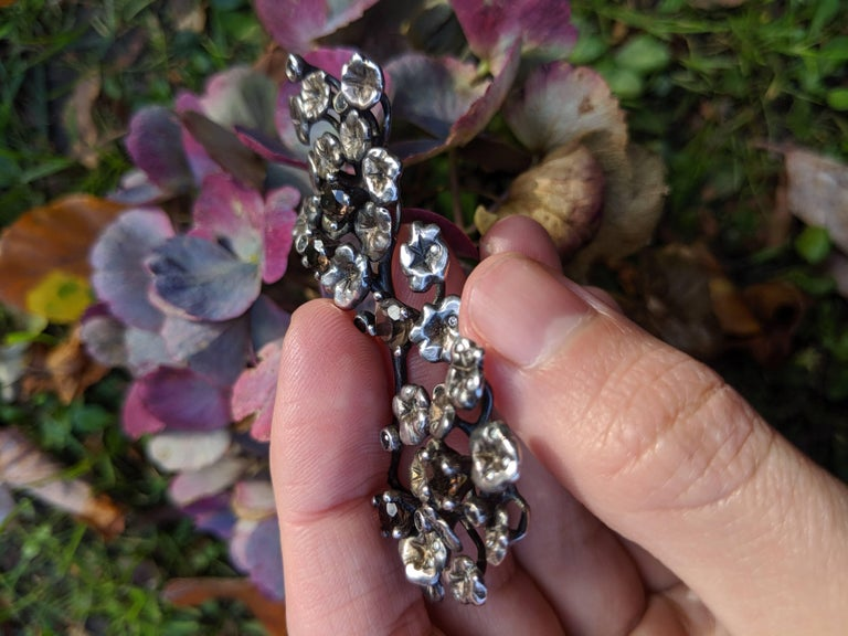 Heliotrope Necklace with 34 Diamonds and 5 Smoky Quartzes, Designed by Artist For Sale 7