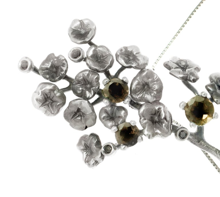 Heliotrope Necklace with 34 Diamonds and 5 Smoky Quartzes, Designed by Artist For Sale 3