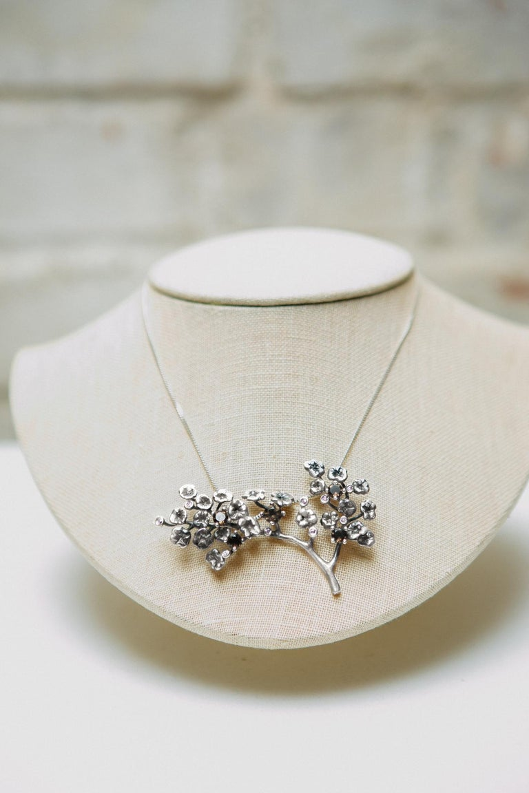 Round Cut Heliotrope Necklace with 34 Diamonds and 5 Smoky Quartzes, Designed by Artist For Sale