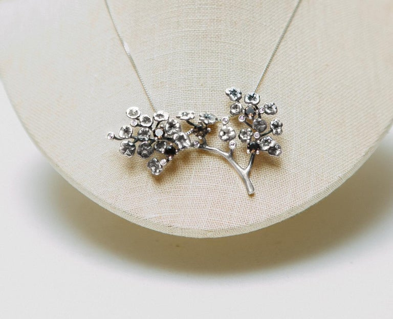 Heliotrope Necklace with 34 Diamonds and 5 Smoky Quartzes, Designed by Artist For Sale 1