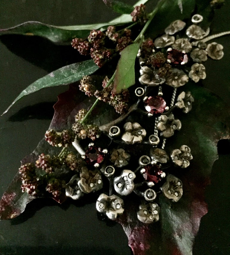 Women's or Men's Heliotrope Necklace with 34 Diamonds and 5 Smoky Quartzes, Designed by Artist For Sale