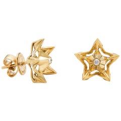 Helix Diamond Gold Stud Earrings