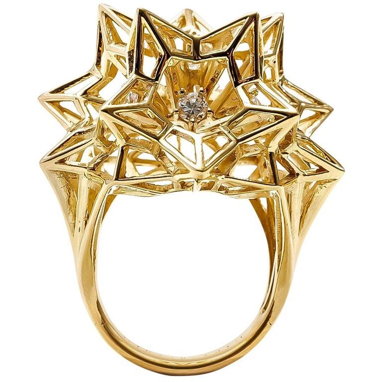 "Helix Frame ""Eye of God"" 18K Gold Ring with Center Diamond For Sale"