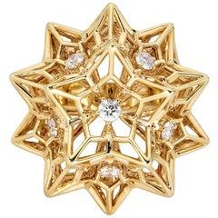 "Helix Frame ""Eye of God"" 18 Karat Gold Ring with Center Diamond"