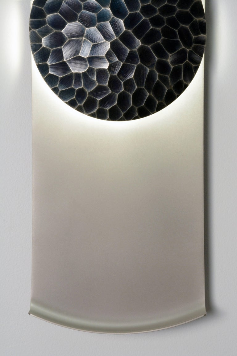 Helix (Vertical) Wall Sconce in Sandblasted Nickel By Matthew Fairbank In Excellent Condition For Sale In Brooklyn, NY