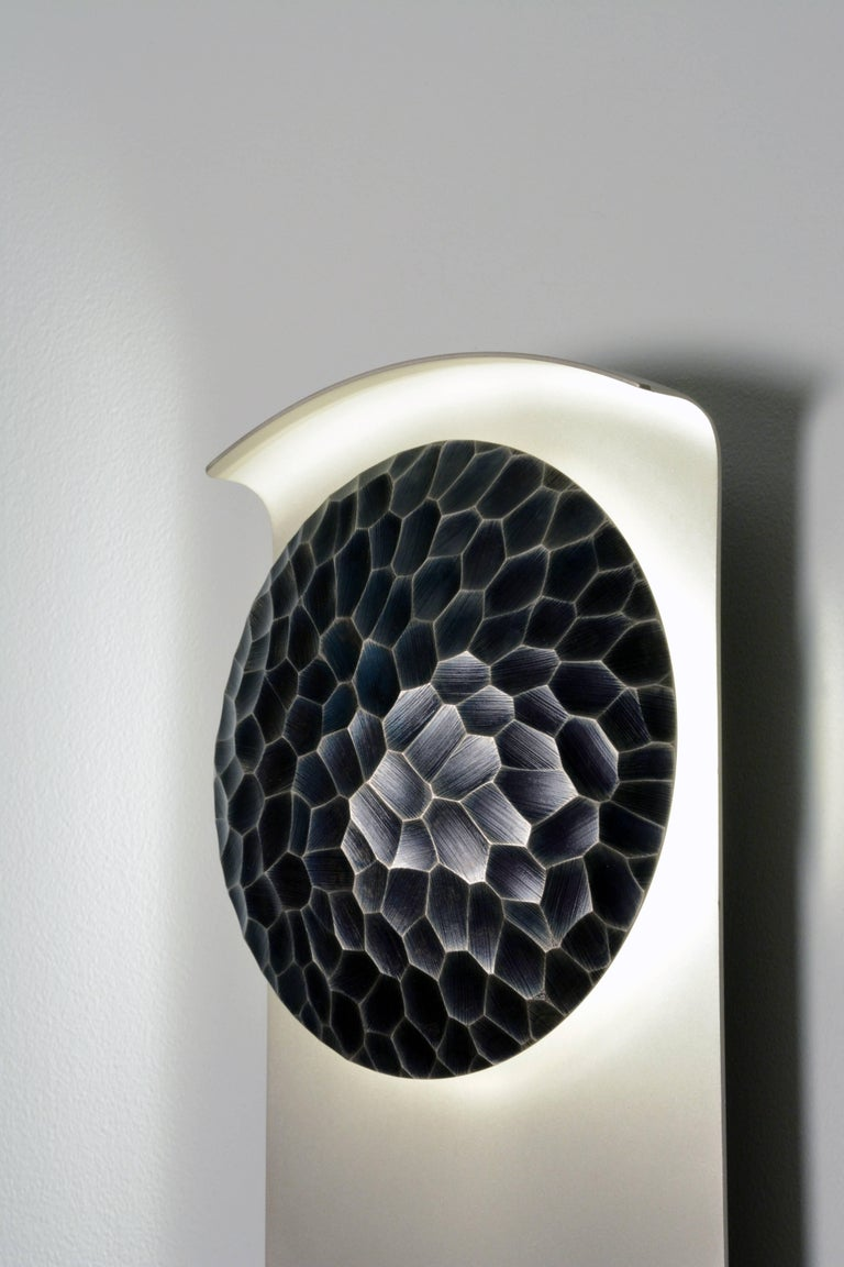 Helix (Vertical) Wall Sconce in Sandblasted Nickel By Matthew Fairbank For Sale 1