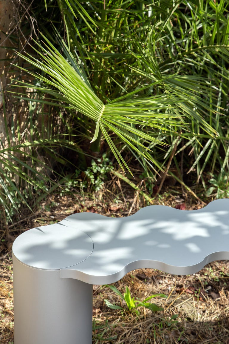 Contemporary Bench Black Aluminium Hella by Chapel Petrassi For Sale 4