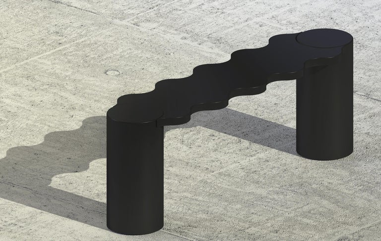 Lacquered Contemporary Bench Black Aluminium Hella by Chapel Petrassi For Sale