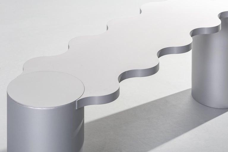 Aluminum Contemporary Bench Blue Aluminium Hella by Chapel Petrassi For Sale