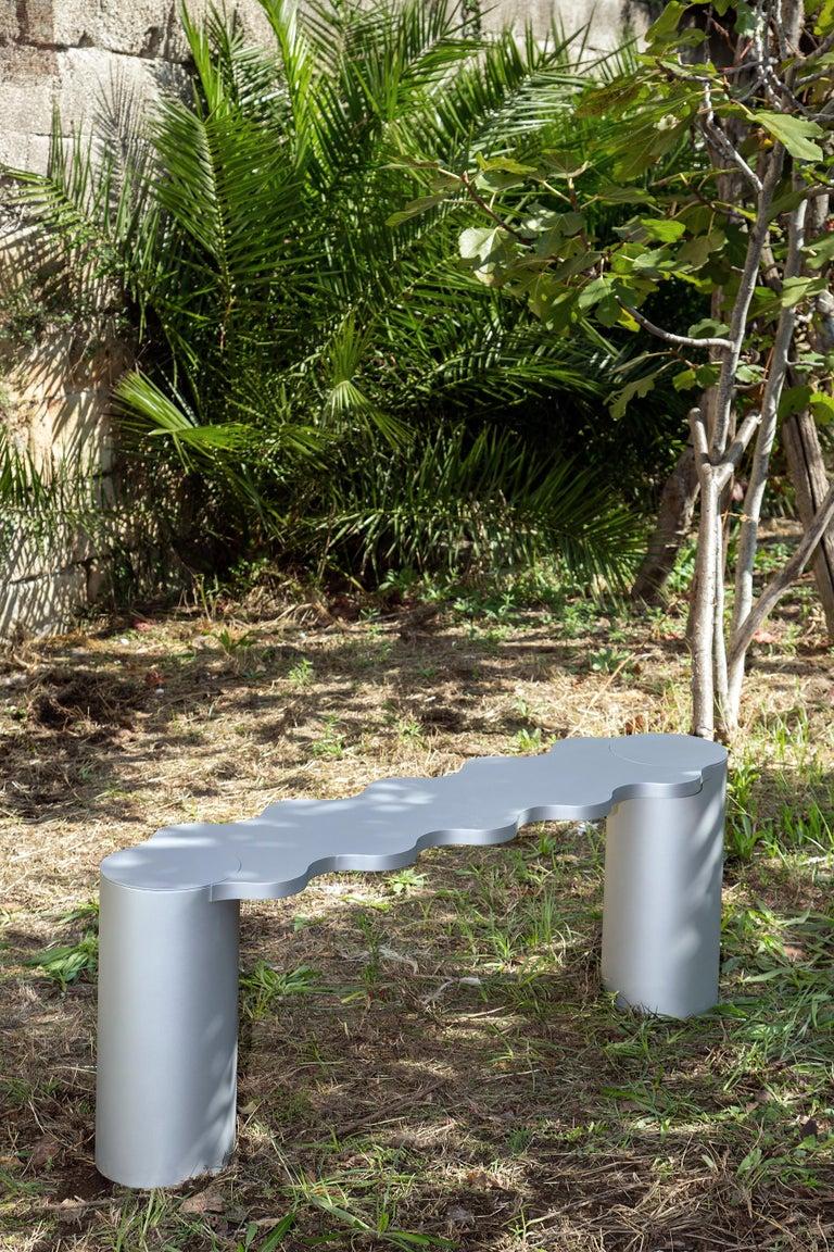 Contemporary Bench Blue Aluminium Hella by Chapel Petrassi For Sale 3