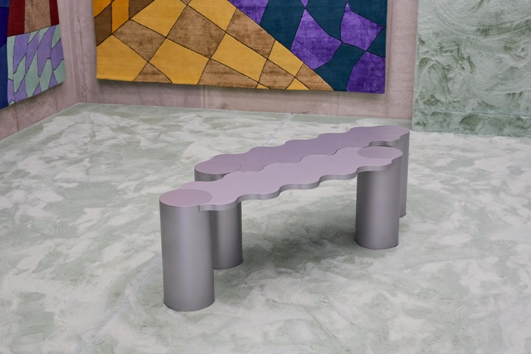 Contemporary Bench Green Aluminium Hella by Chapel Petrassi For Sale 1