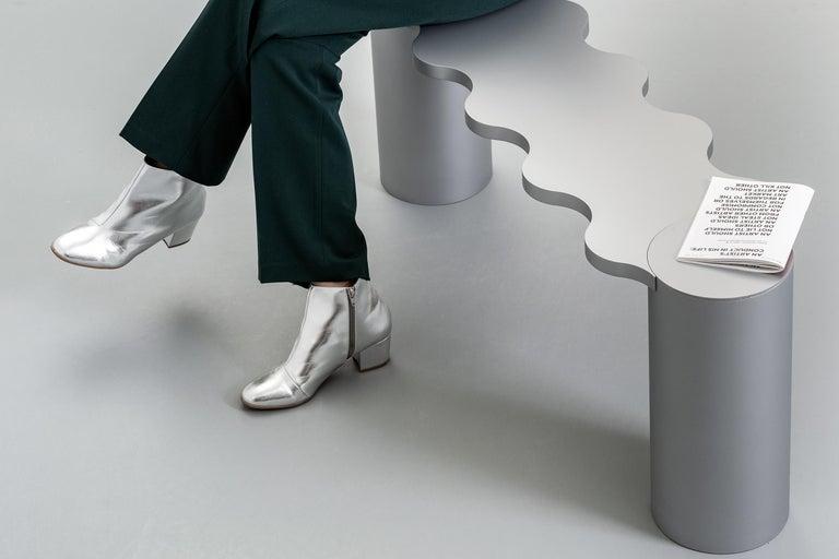 Contemporary Bench White Aluminium Hella by Chapel Petrassi For Sale 3