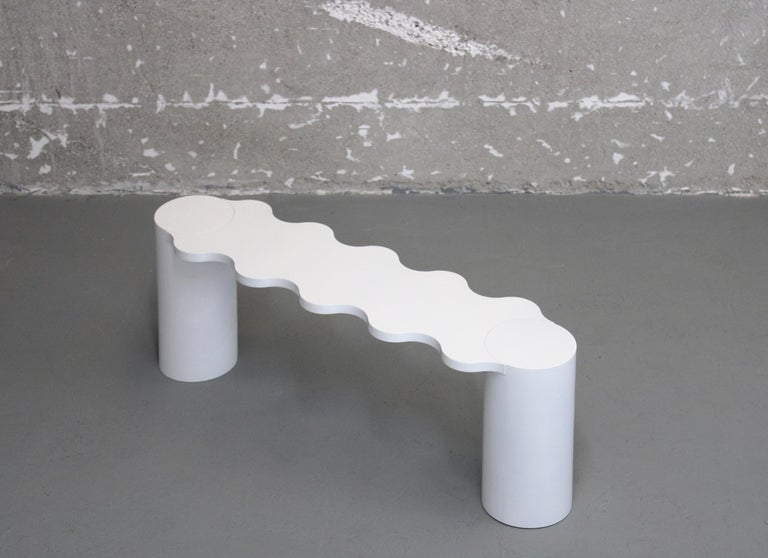 Other Chapel Petrassi Contemporary Bench White Hella Aluminium For Sale