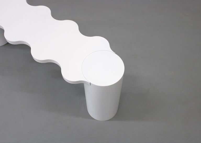 Contemporary Bench White Aluminium Hella by Chapel Petrassi For Sale 1